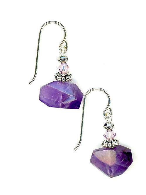 Amethyst Rhombus Earrings