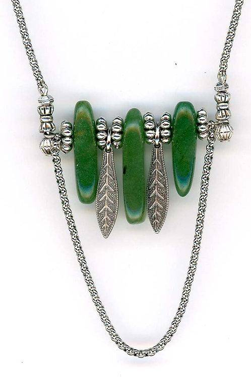 Aventurine Bars & Leaf Bar Necklace