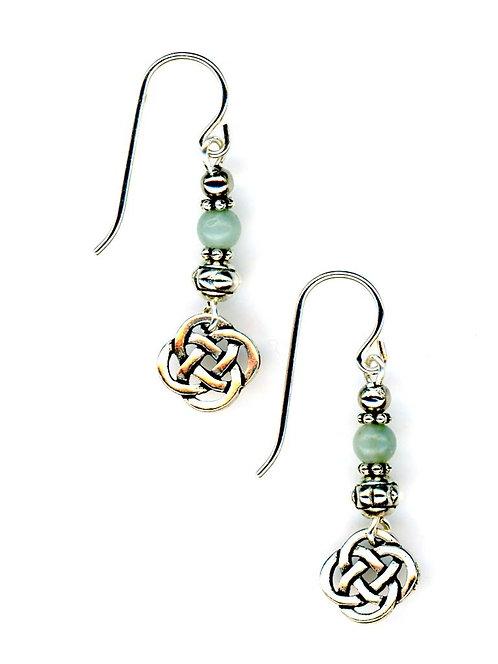 Celtic Small Open Knot, Amazonite Gemstone Earrings