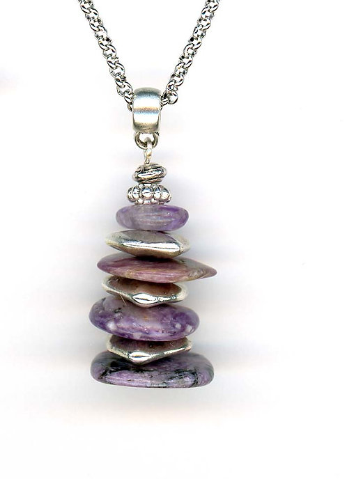 Charolite and Silver Stacked Disks Necklace