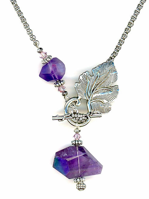 Leaf Clasp Front Closure, Amethyst Necklace