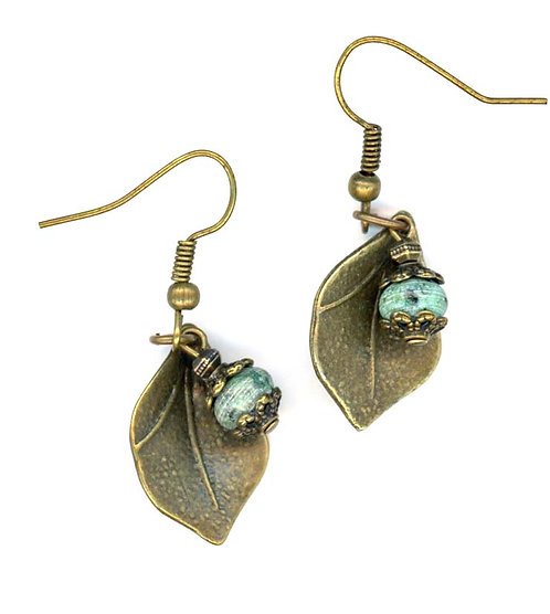 Leaf and Turquoise Earrings