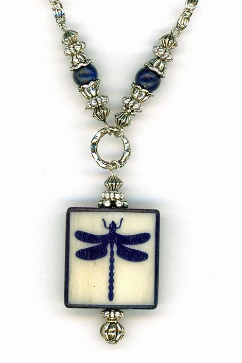 Dragonfly Tile Pendent, Lapis