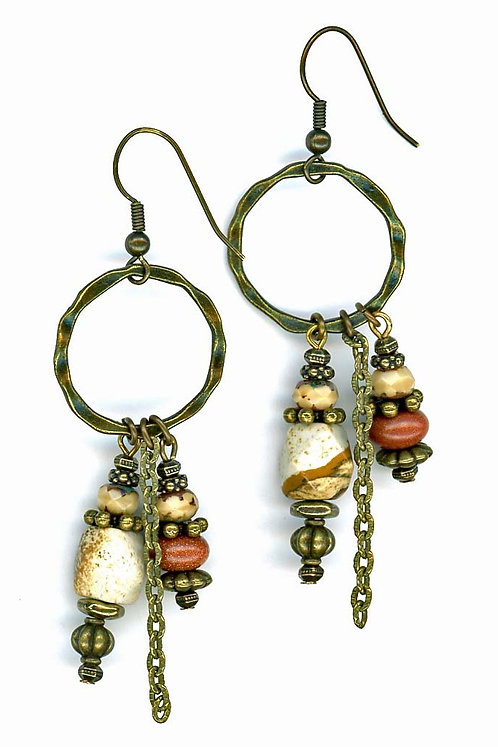 Picture Jasper and Gold Stone Earrings