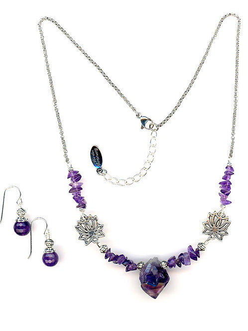 Amethyst Chips & Raw Cut Pointm Necklace