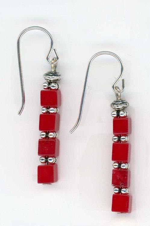 Red Jade Cube Earrings