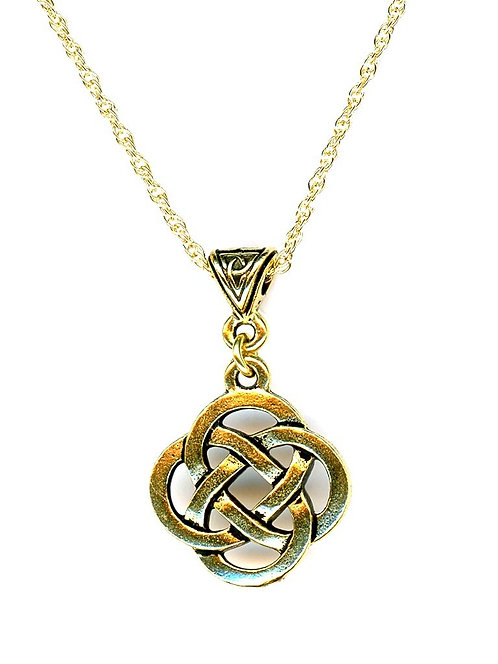 Celtic Gold Large Open Knot Necklace