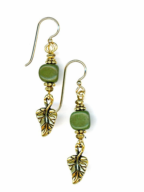 Gold Leaf and Serpentine Earrings