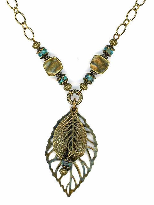 Multi Leaf and Turquoise Drop Necklace
