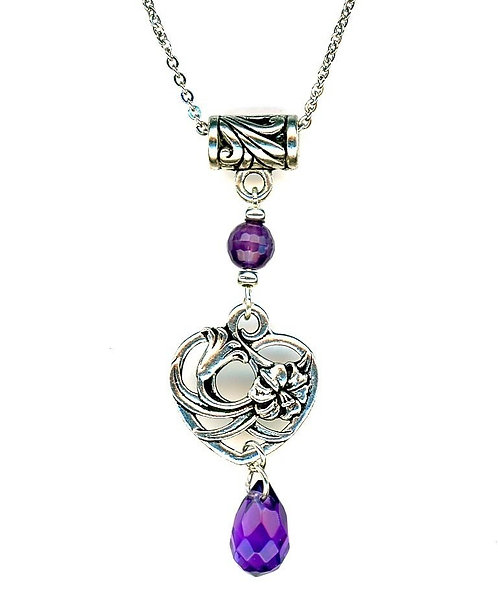Floral Heart, Faceted Amethyst Drop Nekclace