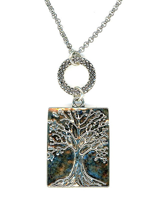 Tree of Life, Silver Rectangle Pendant