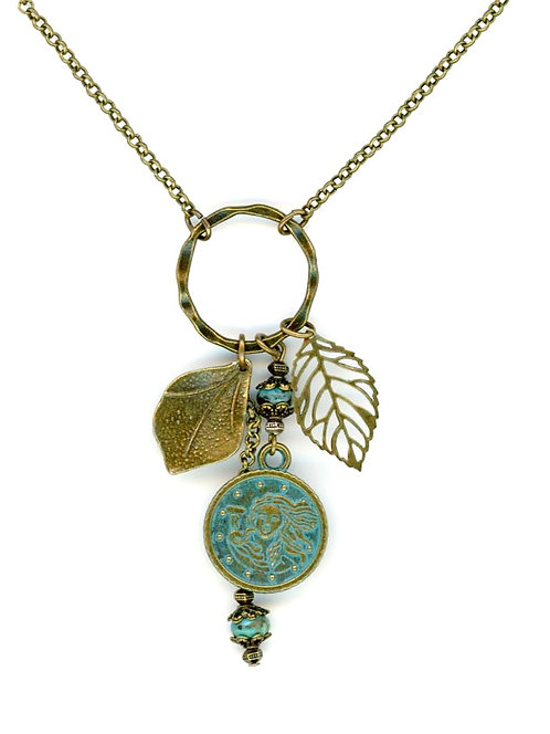 Patina Coin & Leaves, Turquoise Necklace