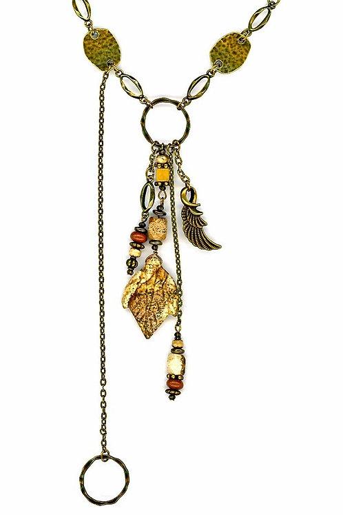 Picture Jasper Carved Leaf long Necklace