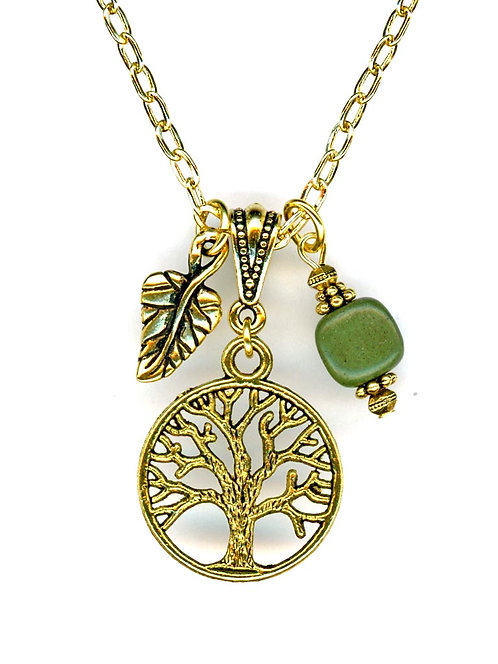 Small Tree of Life, Gold, Serpentine Necklace