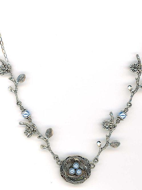Silver Nest Necklace, Blue Swarovski Pearls