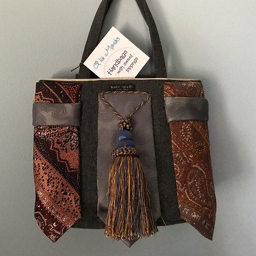Gray Felt Handbag Paisley Ties