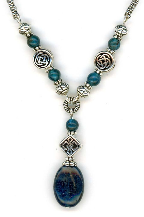 Small Round Celtic Knot, Apatite Gemstone Necklace