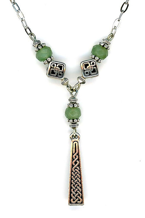 Celtic Braid Drop, Faceted Aventurine Gemstone Necklace