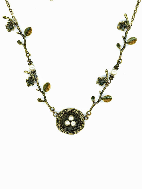 Brass Nest Necklace, White Swarovski Pearls