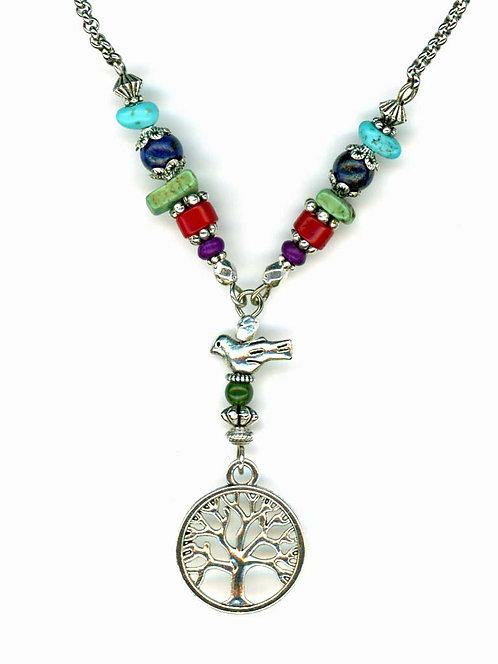 Multi Gemstone Tree of Life Necklace