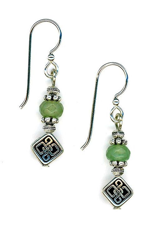 Celtic Braid Drop, Faceted Aventurine Gemstone Earrings