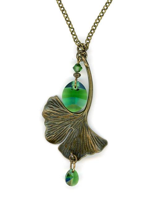 Ginkgo Leaf, Bronze Moss Swarovski