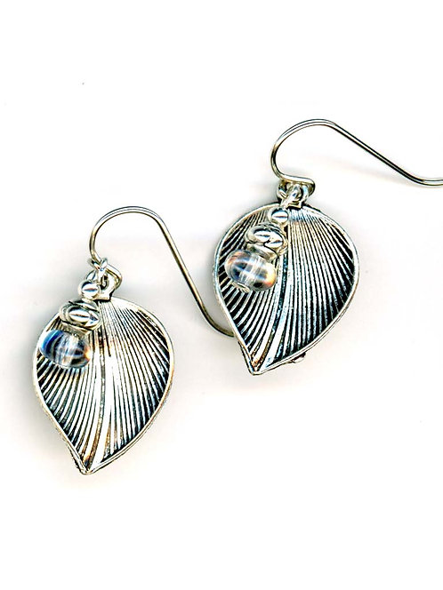 Kyanite, Leaf Drop Earrings