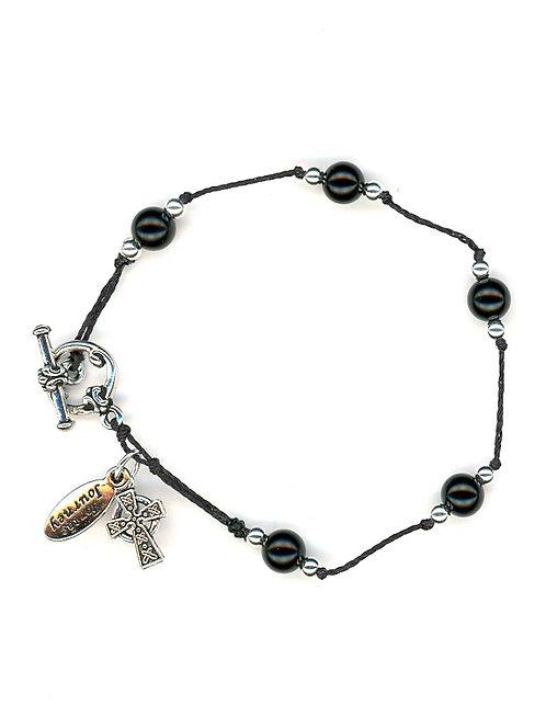 Breath Prayer Bracelet Silver Black Onyx