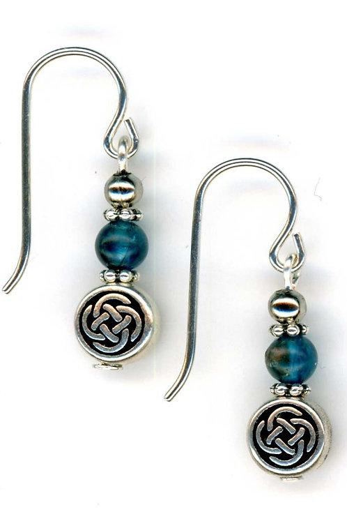 Celtic Small Knot, Apatite Gemstone Earrings