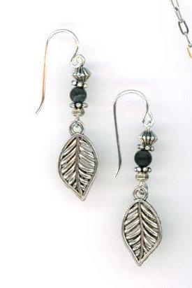 Matted Black Onyx Leaf Earrings