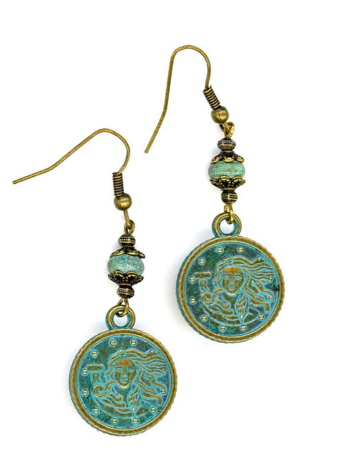 Patina Coin and Turquoise Earrings