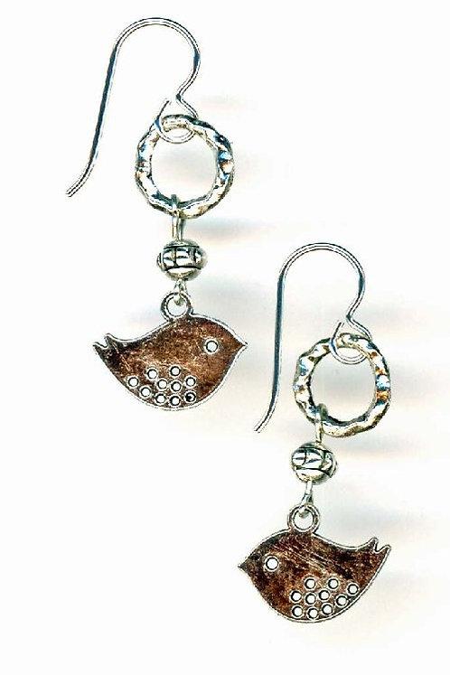 """O"" and Silver Bird Earrings"