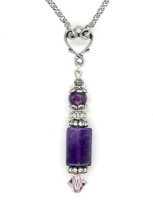 Amethyst & Swarovski Crystals Necklace