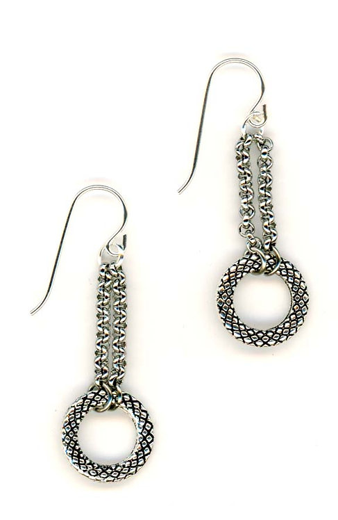 Silver Circle and Chain Earrings