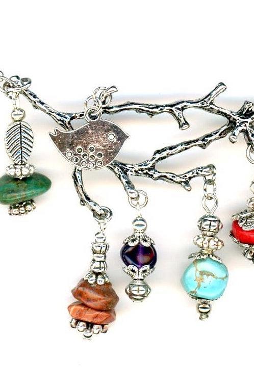 Tree Branch, Multi Gemstone Necklace