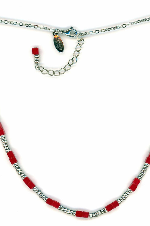 Red Jade Disks Crescent Necklace