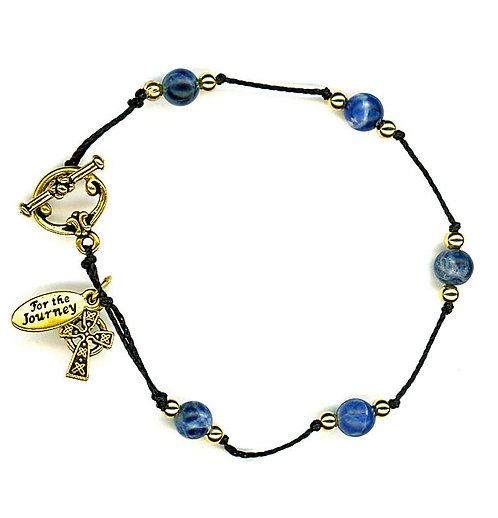 Breath Prayer Bracelet Gold Sodalite