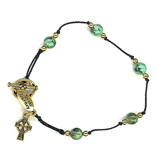 Breath Prayer Bracelet Gold African Turquoise