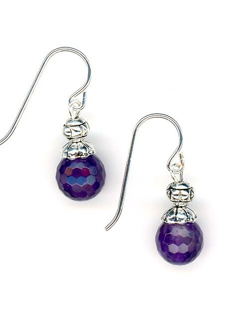 Amethyst Faceted Round Earrings