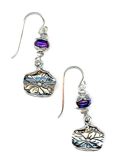 Purple Turquoise, Lily Pad Drop Earrings