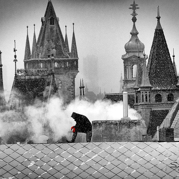 """Roof Top"" Black & White Prague"