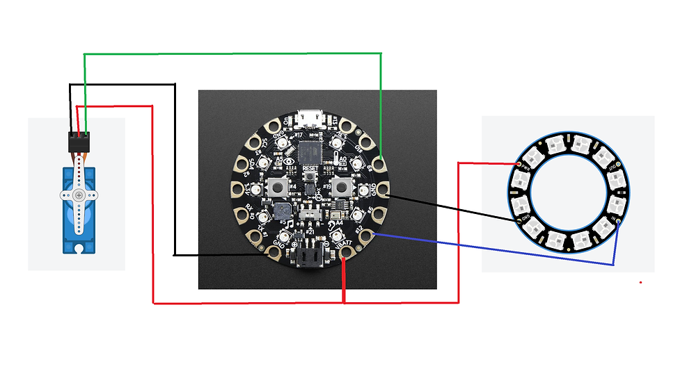 Schematic for wiring Circuit Playground to Neopixel Ring and Servo Motor