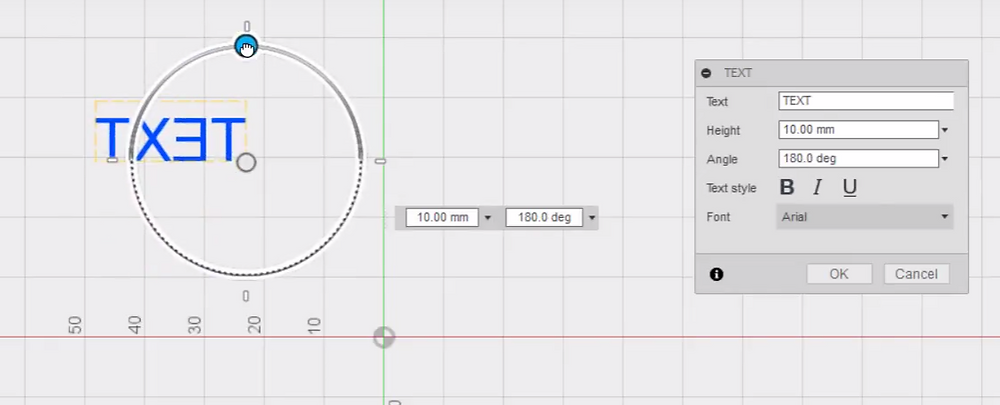 Rotating text in fusion 360