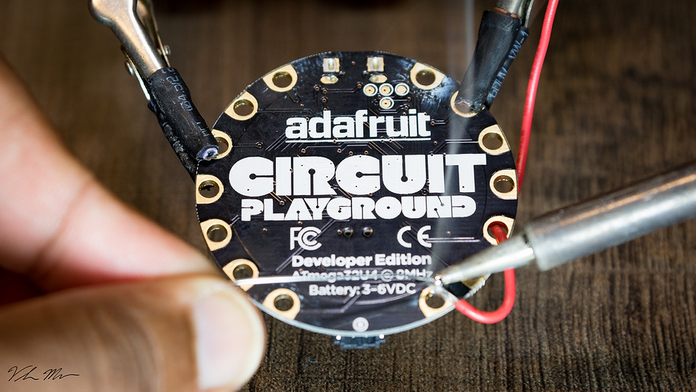 Soldering the Circuit Playground board by Adafruit