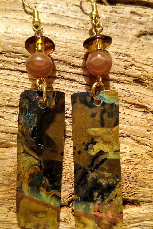Brass patina rectangle earrings