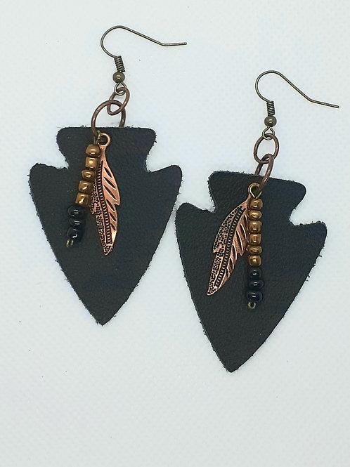 Black Arrowhead Leather Earrings
