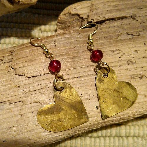 Hand cut Brass Heart earrings