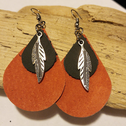 Orange and Black Leather tear drop earring