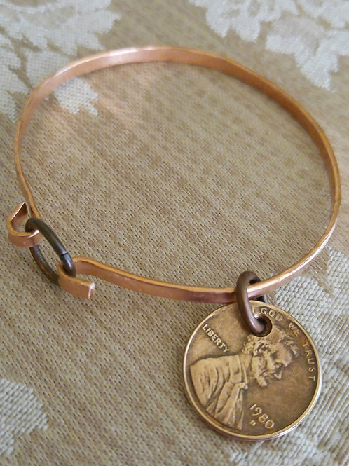 Copper Memory Bangle Bracelet (custom made)