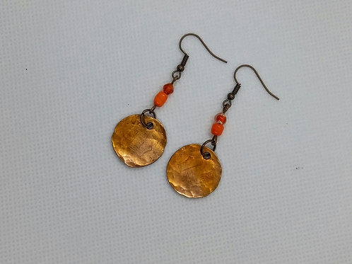Flamed Penny with bead earrings